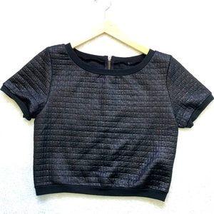 Black Textured Crop Top With Zipper in Back